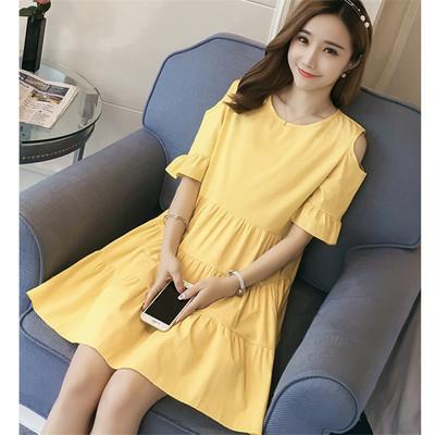 Maternity Clothing Solid Color Chiffon Hemp Nursing Dress