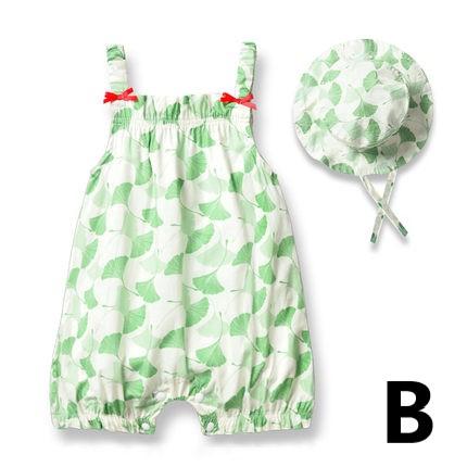 Baby Clothing Newborn Summer Nature Print Jumpsuit + Hat