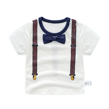 Baby Clothing Newborn Round Neckline with Bow Decoration Casual Shirt