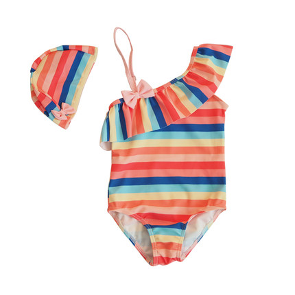 Baby Clothing One-piece Striped Rainbow Swimsuit