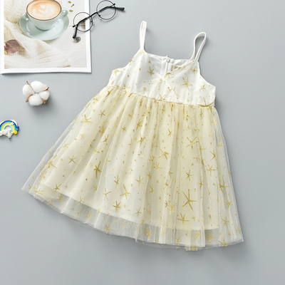 Kids Clothing Princess Sleeveless Starry Mesh Skirt Dress