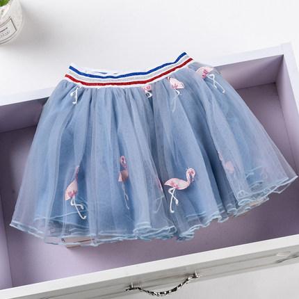 Kids Clothing Girl Goose Print on Pleated Mesh Skirt