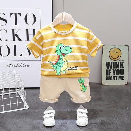 Kids Clothing Boy Fashion Short-sleeved Striped Polo Shirt + Pants Set