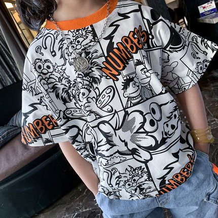 Kids Clothing Boy Fashion Half-sleeved Graffiti Cotton Shirt