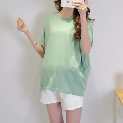 Maternity Clothing Round Neck Short-sleeved Loose Mid-length Shirt