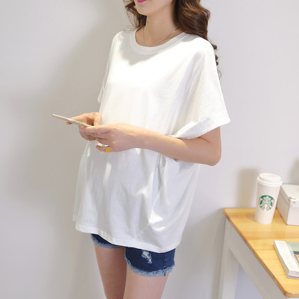 Maternity Clothing Round Neck Short-sleeved Loose Mid-length Shirt