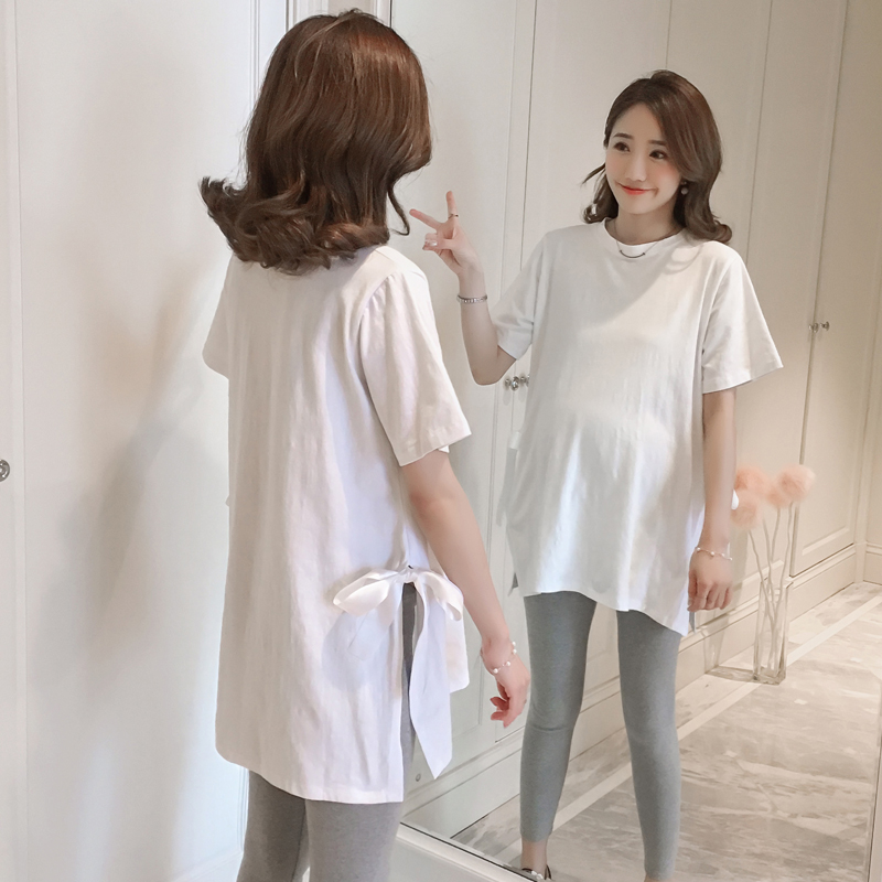 Maternity Clothing Round Neck Short-sleeved Loose Shirt Side Split with Bow