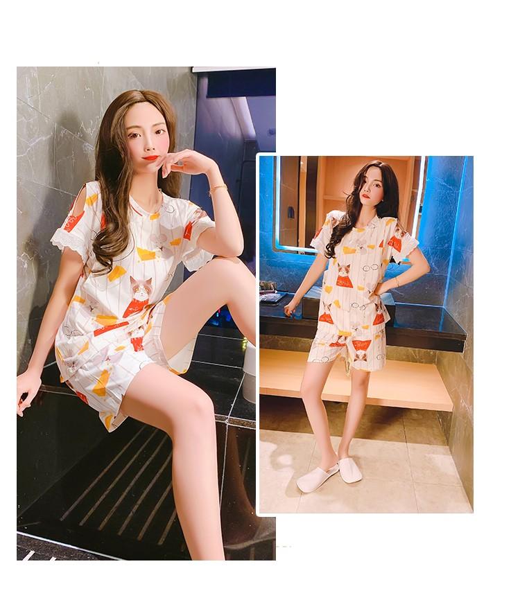 Maternity Clothing Round Neck Short-sleeved Cotton Pajama Set