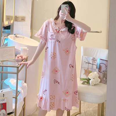 Maternity Clothing Round Neck Cotton Short-sleeved Loose Nightdress