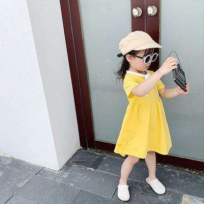 Kids Clothing College Style Princess Short-sleeved Skirt Dress