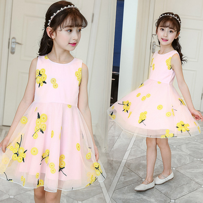 Kids Clothing Sunflower Princess Sleeveless Skirt Dress
