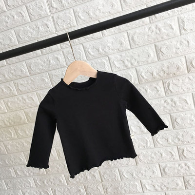 Kids Clothing Long-sleeved Cotton Plain Shirt