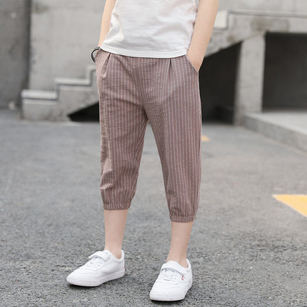 Kids Clothing Boy Summer Cotton Cropped Striped Pants
