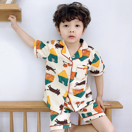 Kids Clothing Casual Short-sleeved Cartoon Print Comfortable Pajama Suit
