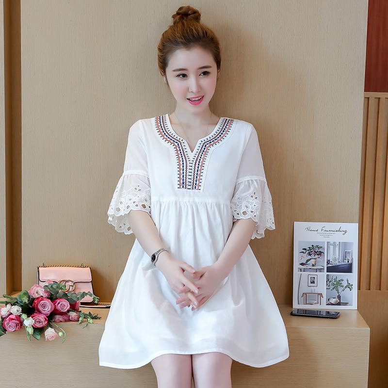 Maternity Clothing Short-sleeved Lace Mid-length Dress