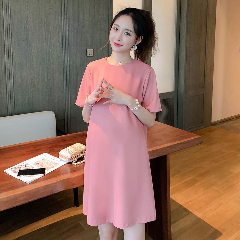 Maternity Clothing Loose Short-sleeved  V-neck Summer Shirt Dress