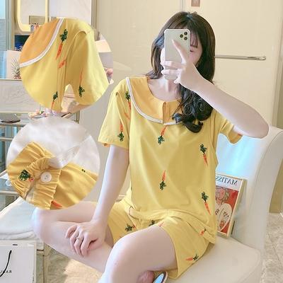 Maternity Clothing Short-sleeved Two-piece Nursing Pajama Suit