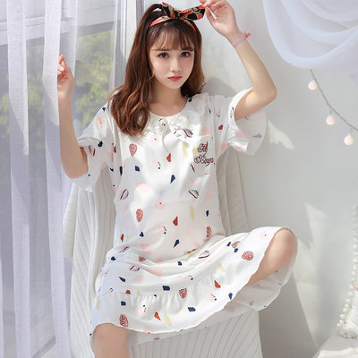 Maternity Clothing Short-sleeved Loose Nursing Nightdress