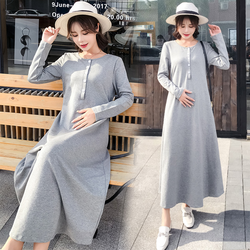 Maternity Clothing Long-sleeved Long Skirt Nursing Dress