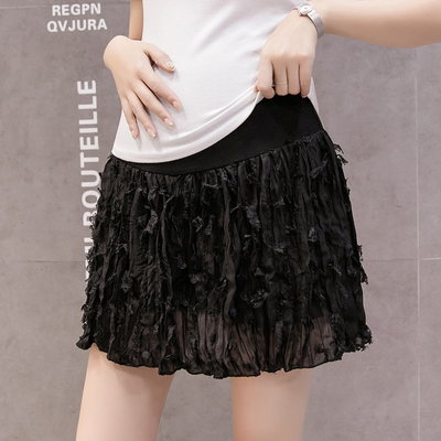 Maternity Clothing Hips Adjustable Pleated Short Skirt