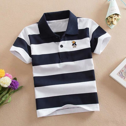Kids Clothing Striped Casual Outdoor Polo Shirt