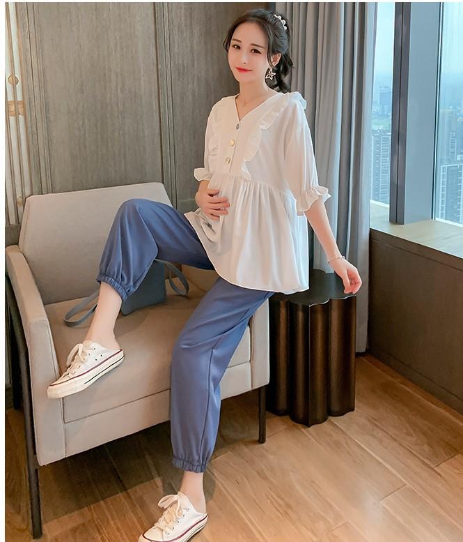 Maternity Clothing Short-sleeved Beam Chiffon Shirt