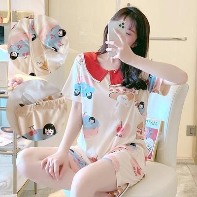 Maternity Clothing Short-sleeved Two-piece Lactation Breastfeeding Pajama Suit