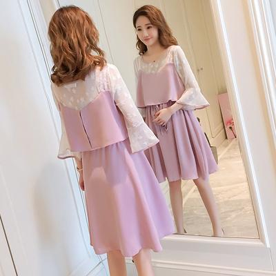 Maternity Clothing Summer Fashion Chiffon Mid-length Nursing Dress