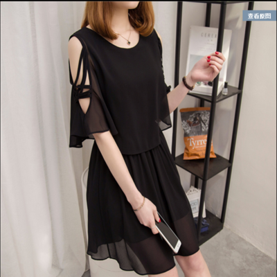 Maternity Clothing Summer Fashion Chiffon Mid-length Mesh Nursing Dress