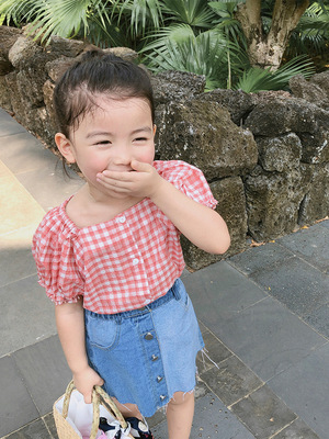 Kids Clothing Bubble Sleeve Plaid Shirt