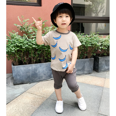 Kids Clothing Short-sleeved Baby Summer Boy Cotton Two-piece Suit