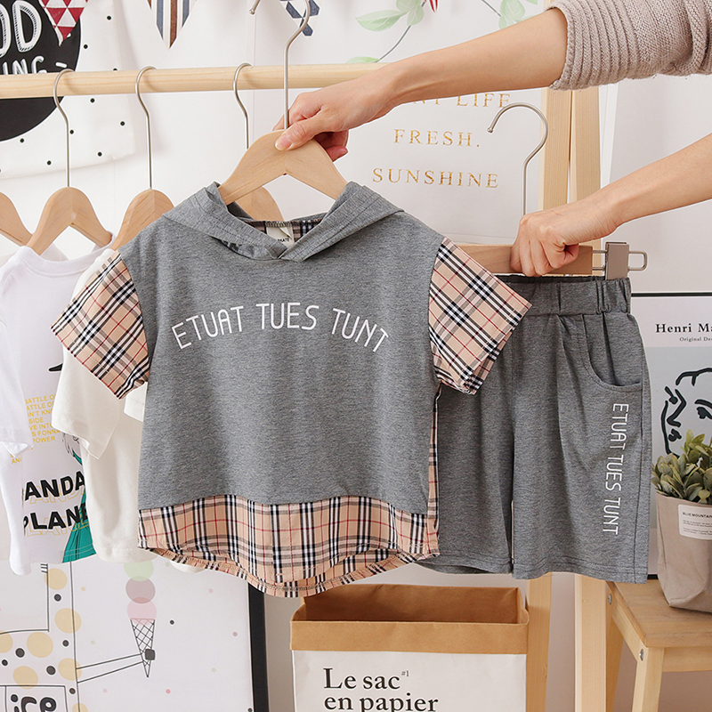 Kids Clothing Plaid Short-sleeved Summer Cotton Two-piece Suit