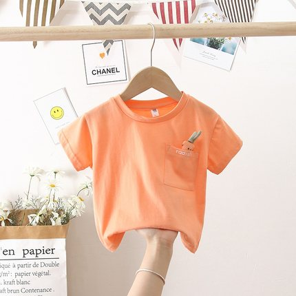 Kids Clothing Carrot on Pocket Half-sleeved Casual Round Neck Shirt