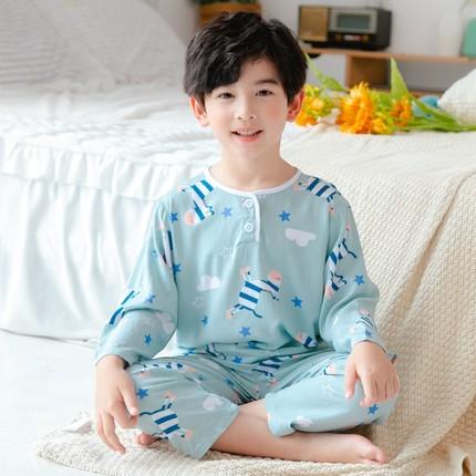 Kids Clothing Boy Long-sleeved Cotton Pajama Set