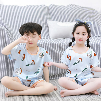 Kids Clothing Summer Pajamas for Boys and Girls Short-sleeved Ice Silk Suits