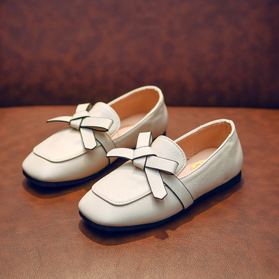 Kids Girl Soft Bottom Leather Bow Shoes