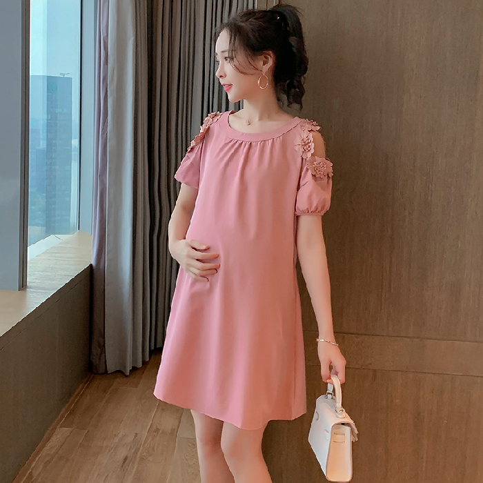Maternity Clothing Summer Fashion Round Neck Hollow Sleeve Casual Dress