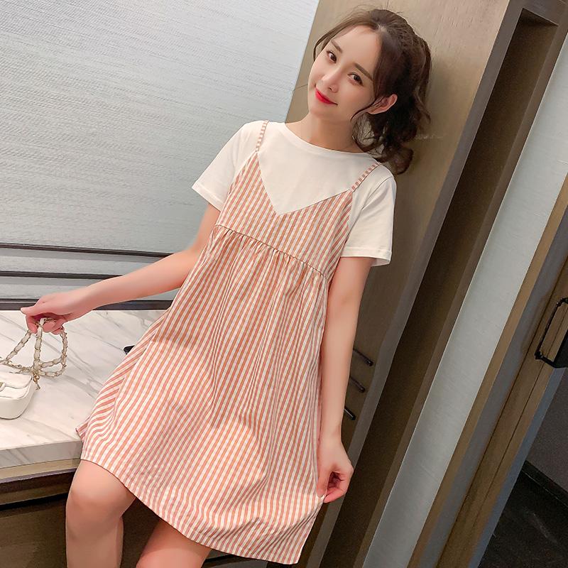 Maternity Clothing Summer Short -sleeved Lattice Dress