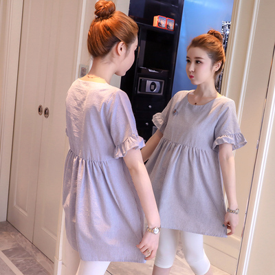 Maternity Clothing Summer Short -sleeved Pregnant Mid-length Shirt