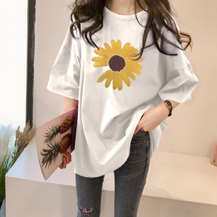 Maternity Clothing Cotton Half-sleeved Loose Shirt
