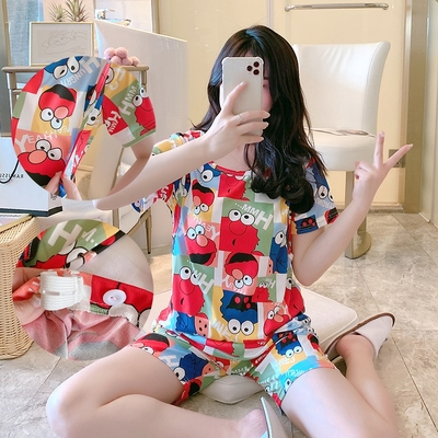 Maternity Clothing Short-sleeved Two-piece Breastfeeding Pajama Suit