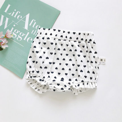 Baby Clothing Newborn Lattice and Small Heart Cotton Summer Pants