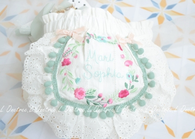 Baby Clothing Newborn Embroidery Flowers Retro Lace-edged Bread Pants