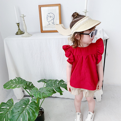 Kids Clothing Flying Sleeves Bow T-shirt