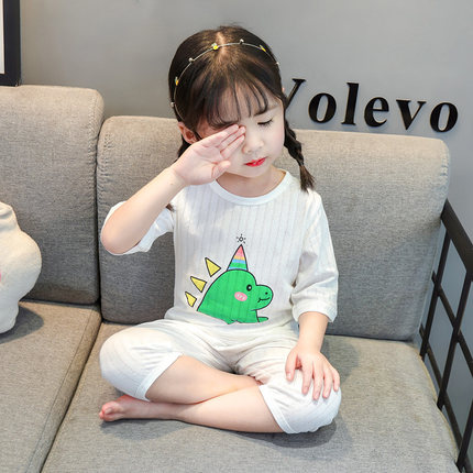 Kids Clothing Cute Baby Half-sleeved Pajamas Set