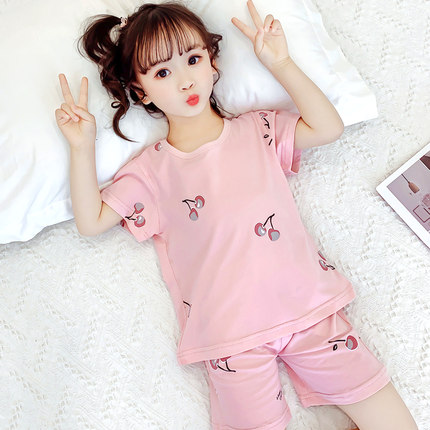 Kids Clothing Cute Baby Half-sleeved Cotton Pajamas Set