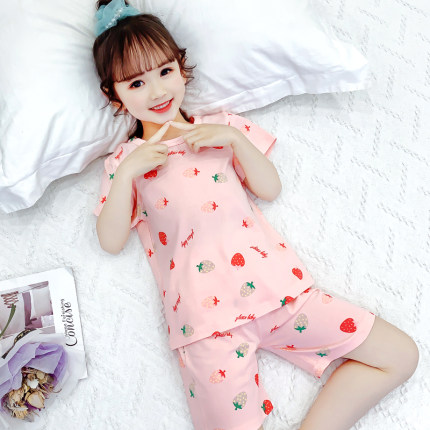 Kids Clothing Cute Baby Half-sleeved Cotton Pajamas Set