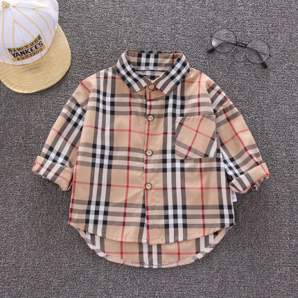 Kids Clothing Long-sleeved New Casual Outdoor Style Striped and Lattice Shirt