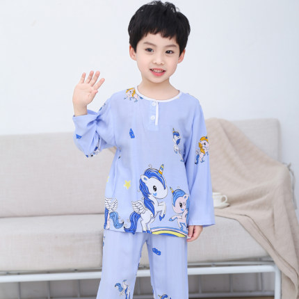 Kids Clothing Boy Long-sleeved Cotton Pajama Set