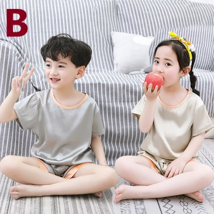 Kids Clothing Summer Pajamas for Boys and Girls Short-sleeved Ice Silk Set
